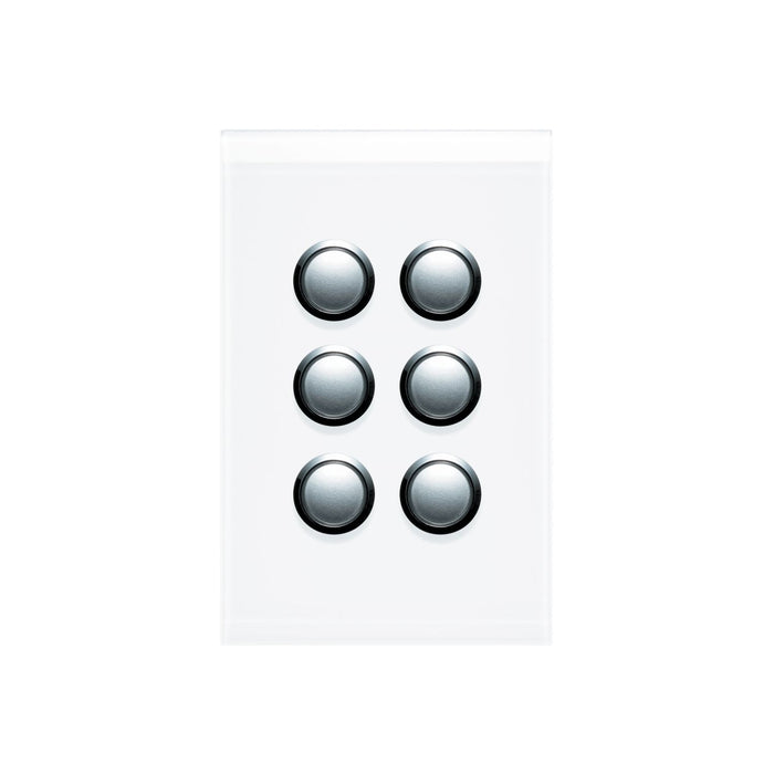 Clipsal Saturn Series 6 Gang Switch Plate - Cover Only, Pure White