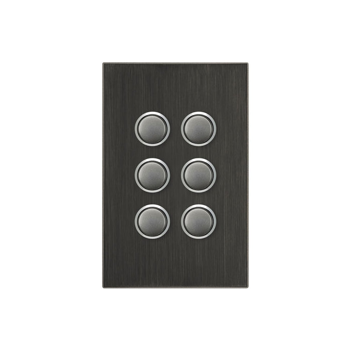 Clipsal Saturn Series 6 Gang Switch Plate - Cover Only, Horizon Black
