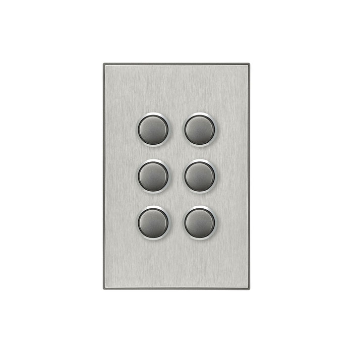 Clipsal Saturn Series 6 Gang Switch Plate - Cover Only, Horizon Silver