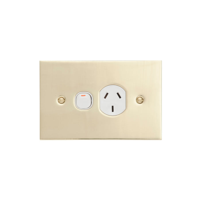 Clipsal BBSL Polished Brass Single Powerpoint Outlet