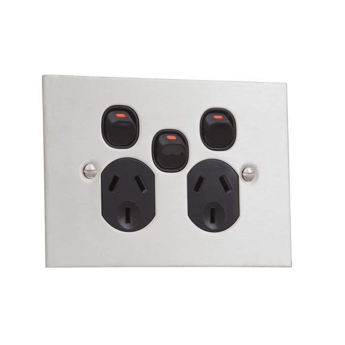 Clipsal BSL Stainless Steel Double Powerpoint Outlet With Extra Switch