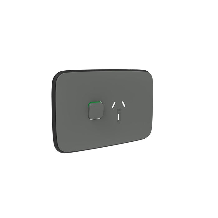 Clipsal Iconic Essence Single Powerpoint Outlet - Cover Only, Arctic Grey