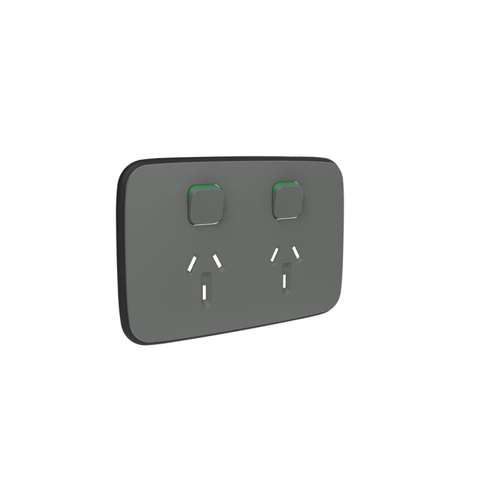 Clipsal Iconic Essence Double Power Point Outlet - Cover Only, Arctic Grey
