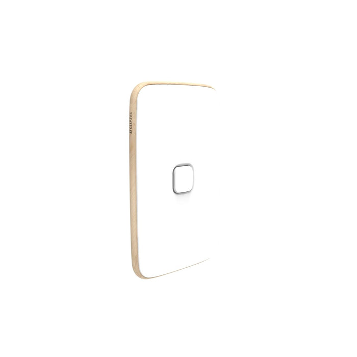 Clipsal Iconic Essence 1 Gang Switch Plate - Skin Only, Arctic White