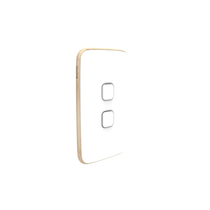 Clipsal Iconic Essence 2 Gang Switch Plate - Skin Only, Arctic White