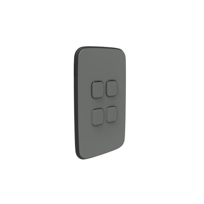 Clipsal Iconic Essence 4 Gang Switch Plate - Skin Only, Ash Grey