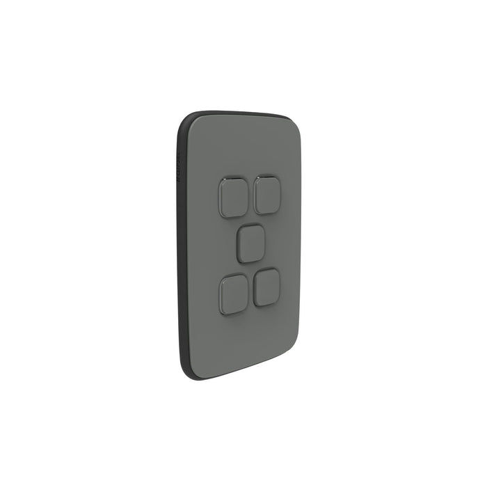 Clipsal Iconic Essence 5 Gang Switch Plate - Skin Only, Ash Grey