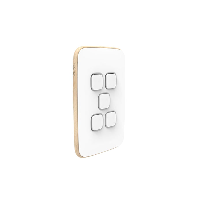 Clipsal Iconic Essence 5 Gang Switch Plate - Skin Only, Arctic White