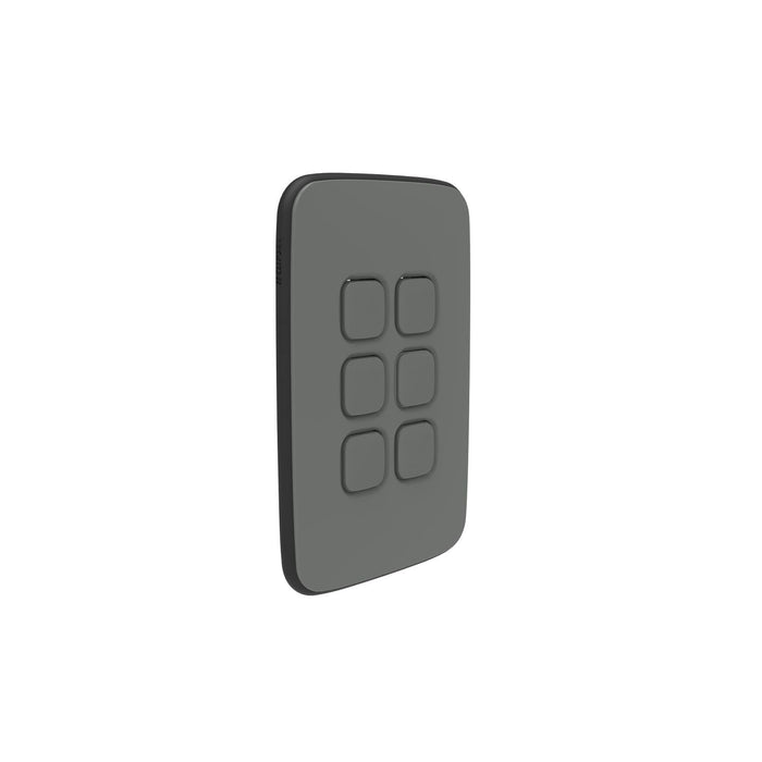 Clipsal Iconic Essence 6 Gang Switch Plate - Skin Only, Ash Grey
