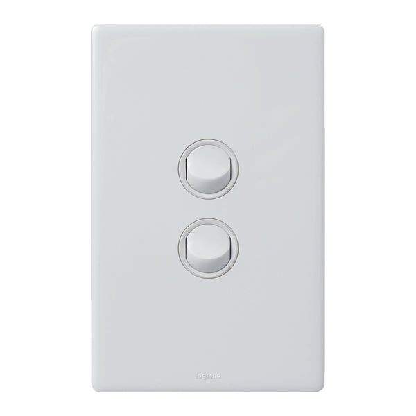 Legrand Excel Life Dedicated Plate 2 Gang Switch, Available in 3 Colours