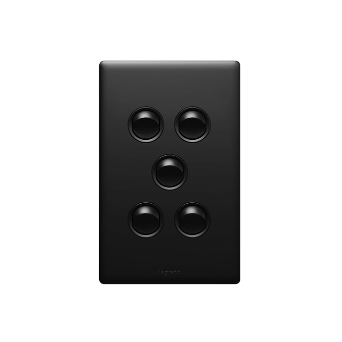 Legrand Excel Life Dedicated Plate 5 Gang Switch, Available in 5 Colours