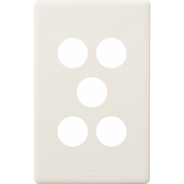 Legrand Excel Life 5 Gang Switch Plate - Cover Only, Available in 6 Colours