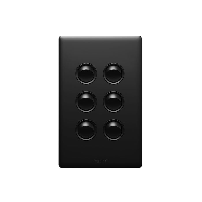 Legrand Excel Life Dedicated Plate 6 Gang Switch, Available in 5 Colours