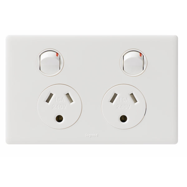 Legrand Excel Life Double Switch Socket Outlet With Round Earth, Available in 2 Colours