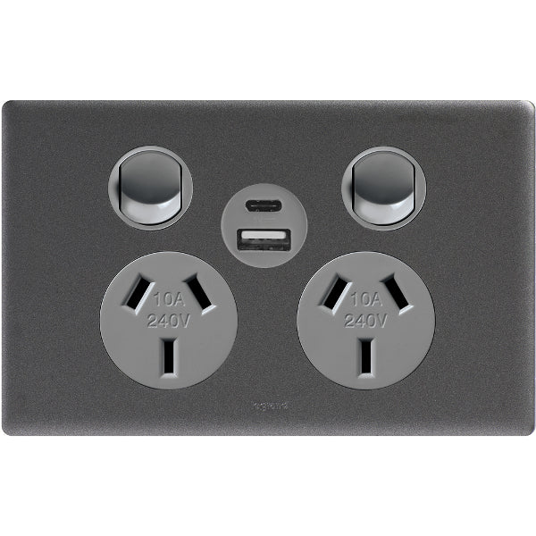 Legrand Excel Life Double Powerpoint Outlet With USB Charger, Available in 3 Colours