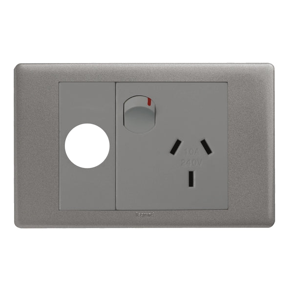 Legrand Excel Life Single Switch Socket Outlet With Extra Function Hole, Available in 2 Colours