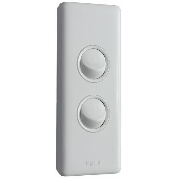 Legrand Excel Life 2 Gang Architrave Switch, White