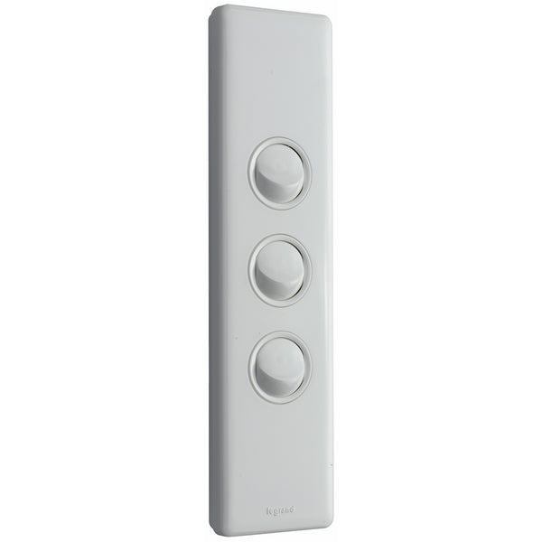 Legrand Excel Life 3 Gang Architrave Switch, White