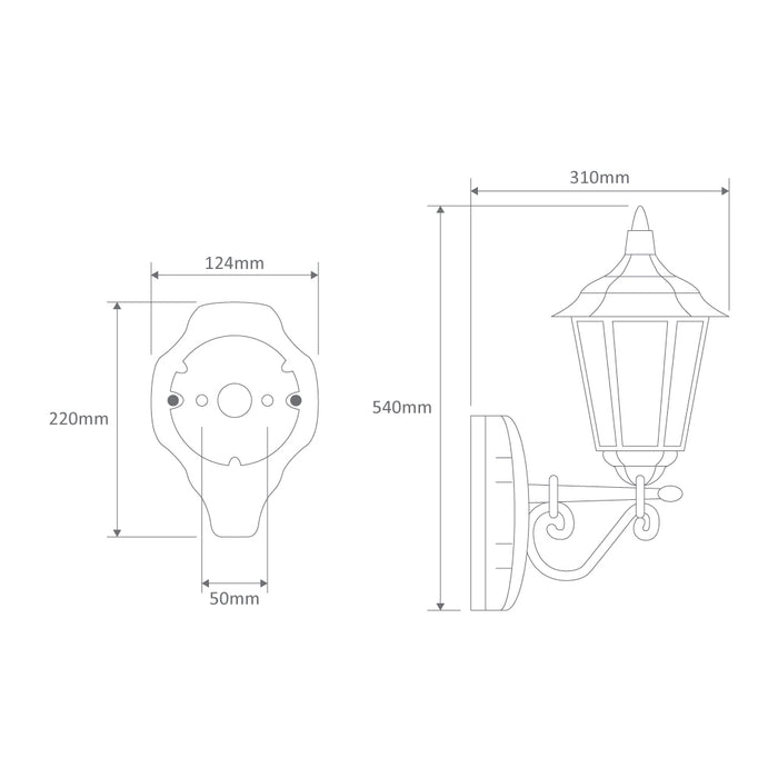 Domus Chester - Straight Arm Up Facing Traditional Wall Light