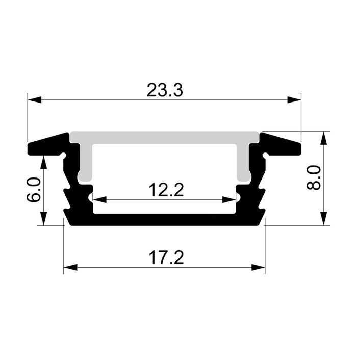 Havit Proline - 23x8mm 2 Metre Shallow Winged Square Aluminium Profile For LED Strip