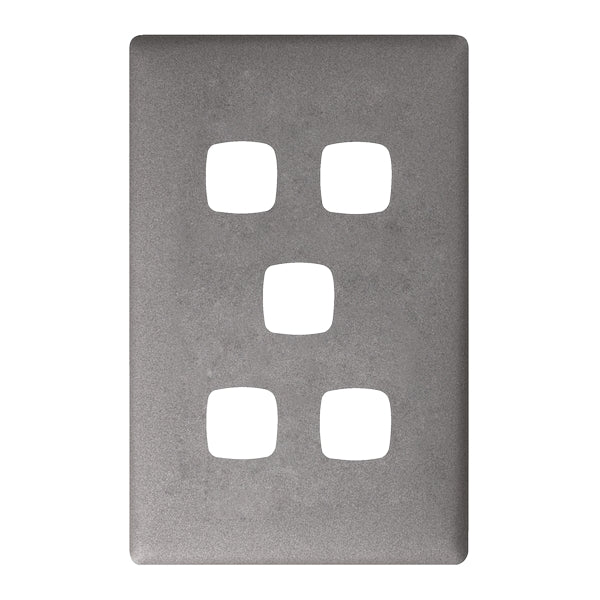 HPM Linea 5 Gang Switch - Cover Plate Only, 10 Colour Finishes