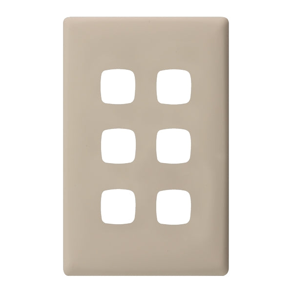 HPM Linea 6 Gang Switch - Cover Plate Only, 10 Colour Finishes