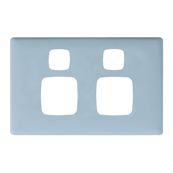 HPM Linea Double Switch Socket - Cover Plate Only, 10 Colour Finishes