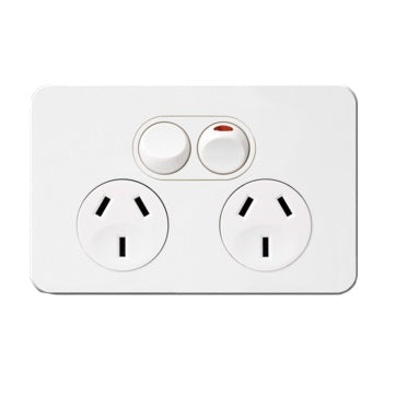 Hager Silhouette Double Power Point Outlet 10a