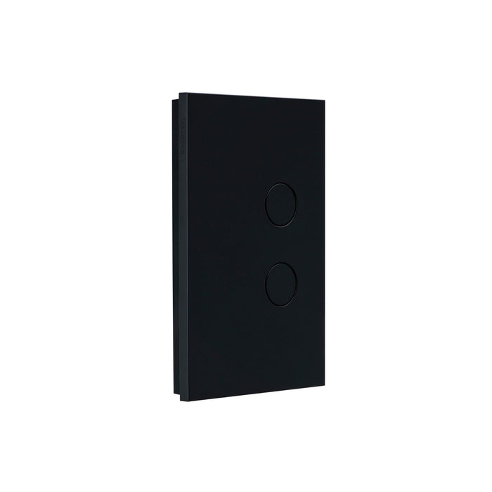 Clipsal Saturn Zen 2 Gang Grid & Plate Assembly, Matt Black