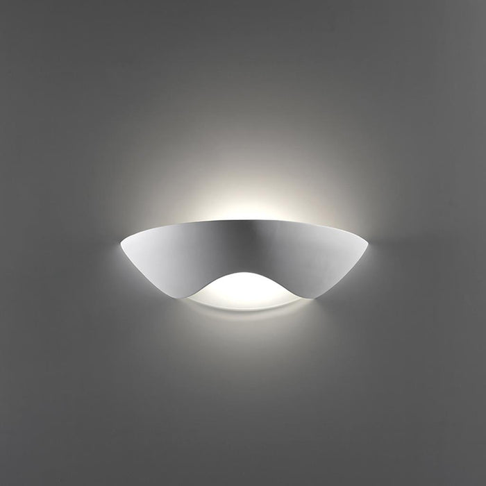 DOMUS - Ceramic Frosted Glass Single Wave Dish Wall Light