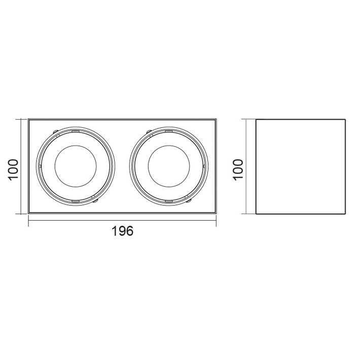SAL Dice II - Surface Mount Rectangular LED Downlight