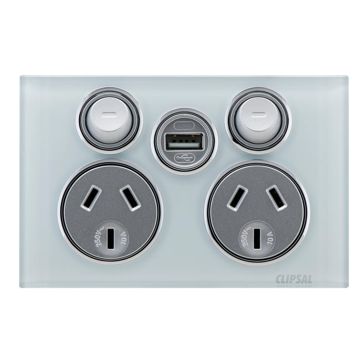 Clipsal Saturn Series Double Power Point 10a 250v With USB Charger, Ocean Mist