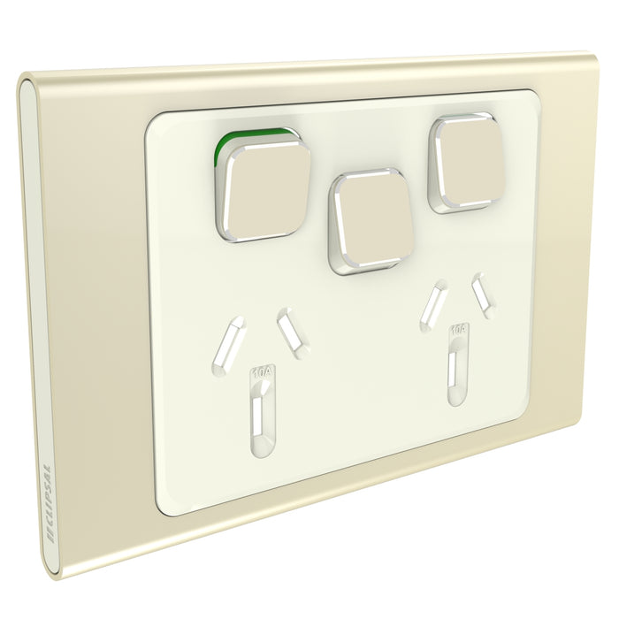 Clipsal Iconic Twin Switch Socket Outlet 10a With Extra Switch - Skin Only, Crowne