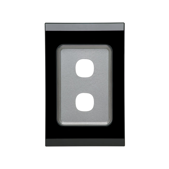 Clipsal Saturn Series 2 Gang Grid And Plate Assembly, Espresso Black
