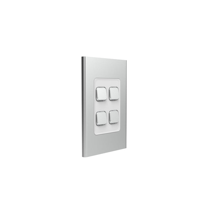 Clipsal Iconic 4 Gang Switch Plate - Skin Only, Silver