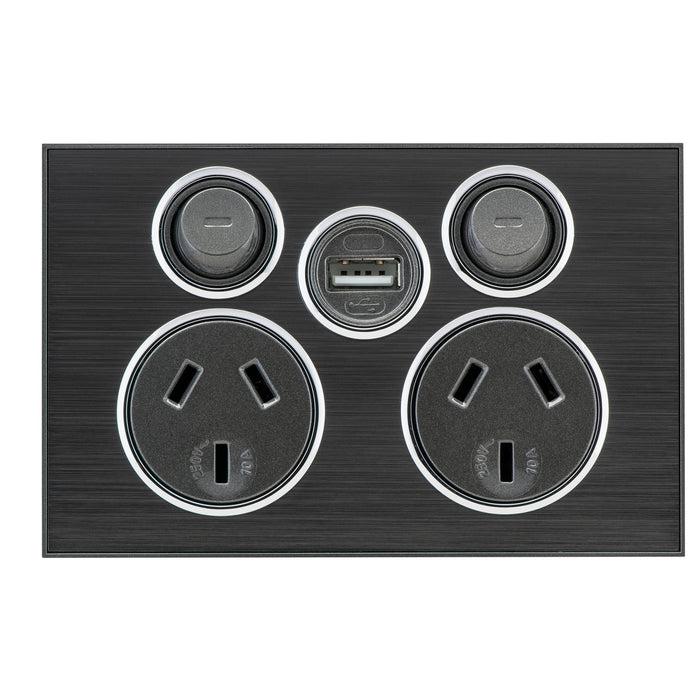 Clipsal Saturn Series DGPO Socket 10a 250v With USB Charger, Horizon Black
