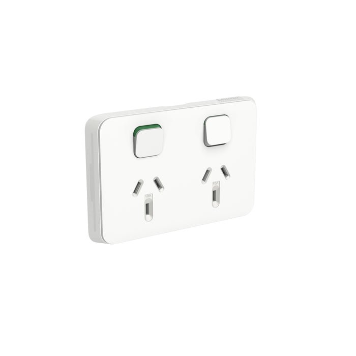 Clipsal Iconic Double Powerpoint Outlet 10a - Skin Only, Vivid White