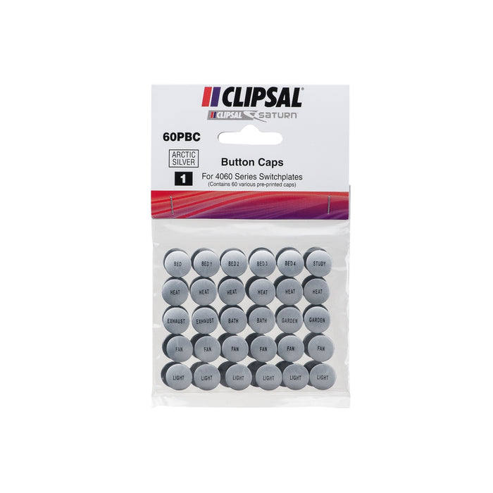 Clipsal Saturn Pre-Labelled Button Caps - 60PB Pack
