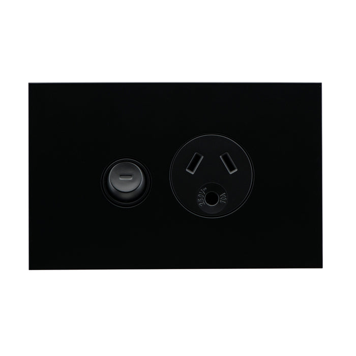 Clipsal Saturn Zen Powerpoint Switch Single Socket Outlet With Round, Earth Black