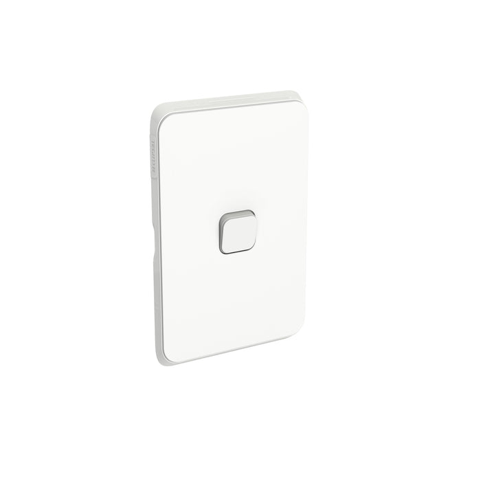 Clipsal Iconic 1 Gang Flush Switch, Vivid White