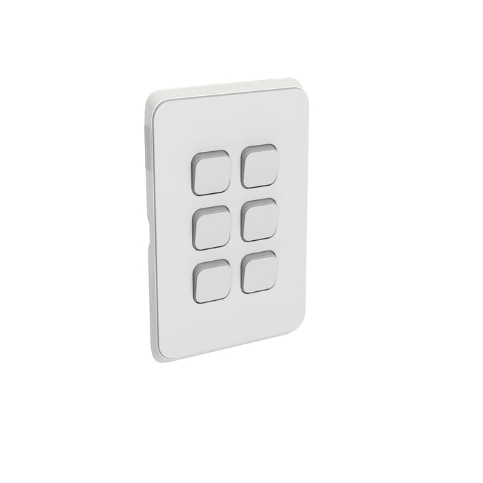 Clipsal Iconic 6 Gang Switch Plate - Skin Only, Cool Grey