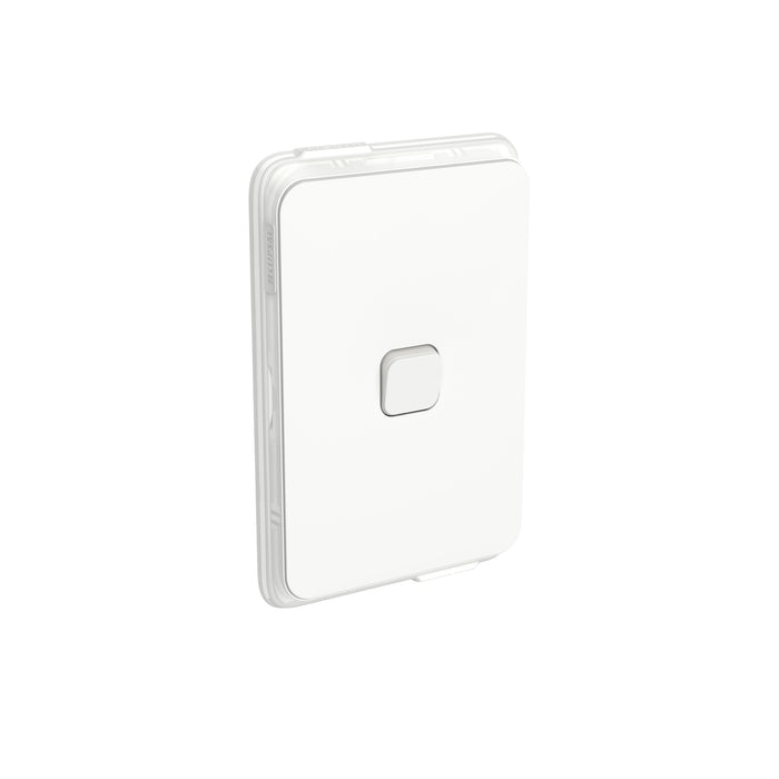 Clipsal Iconic 1 Gang Switch 10a Vertical IP44, Vivid White