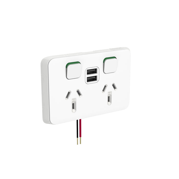 Clipsal Iconic Double Switched Socket Outlet With Dual USB, Vivid White