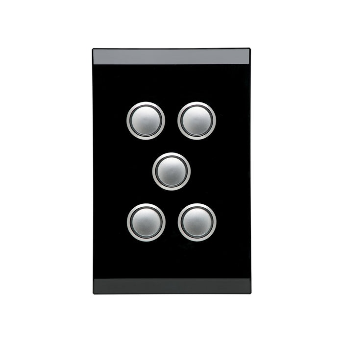 Clipsal Saturn Series Switch 5 Gang Push Button LED, Espresso Black