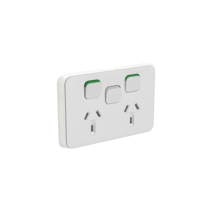 Clipsal Iconic Double Powerpoint Outlet 10a With Extra Switch - Skin Only, Cool Grey