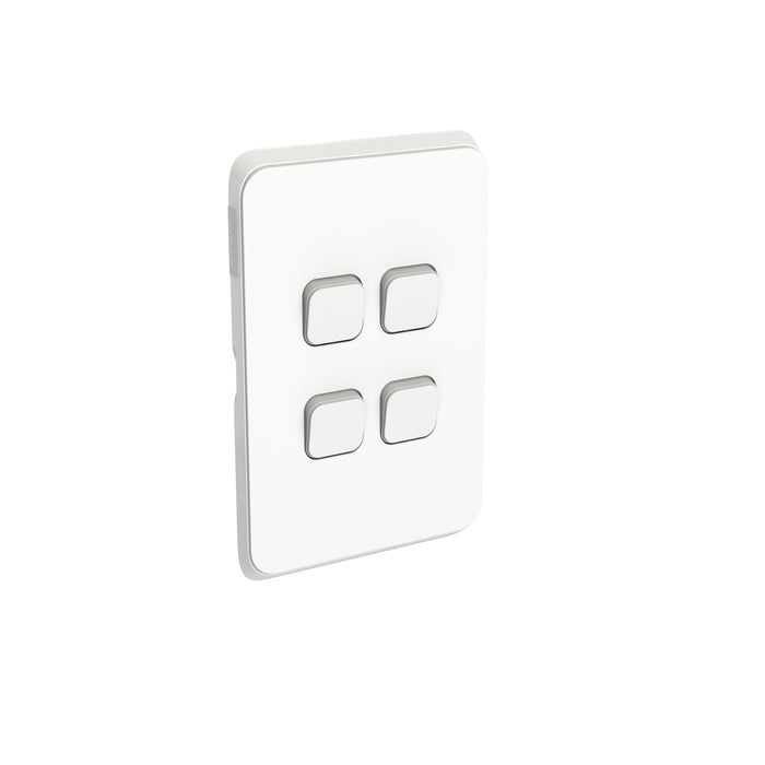 Clipsal Iconic 4 Gang Switch Plate - Skin Only, Vivid White
