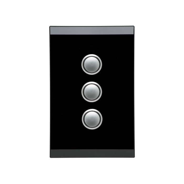 Clipsal Saturn Series 3 Gang Push Button LED, Espresso Black