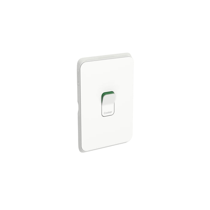 Clipsal Iconic Double Pole Cooker Switch Vertical/Horizontal 45a, Vivid White