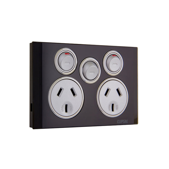 Clipsal Saturn Series Switched Socket Twin 10a With Extra Switch, Espresso Black