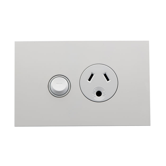 Clipsal Saturn Zen Socket Switch Single Socket Outlet With Round, Earth White